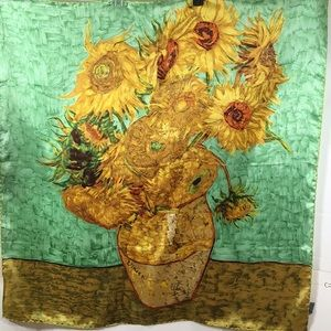 Van Gogh Sunflowers vintage silk scarf